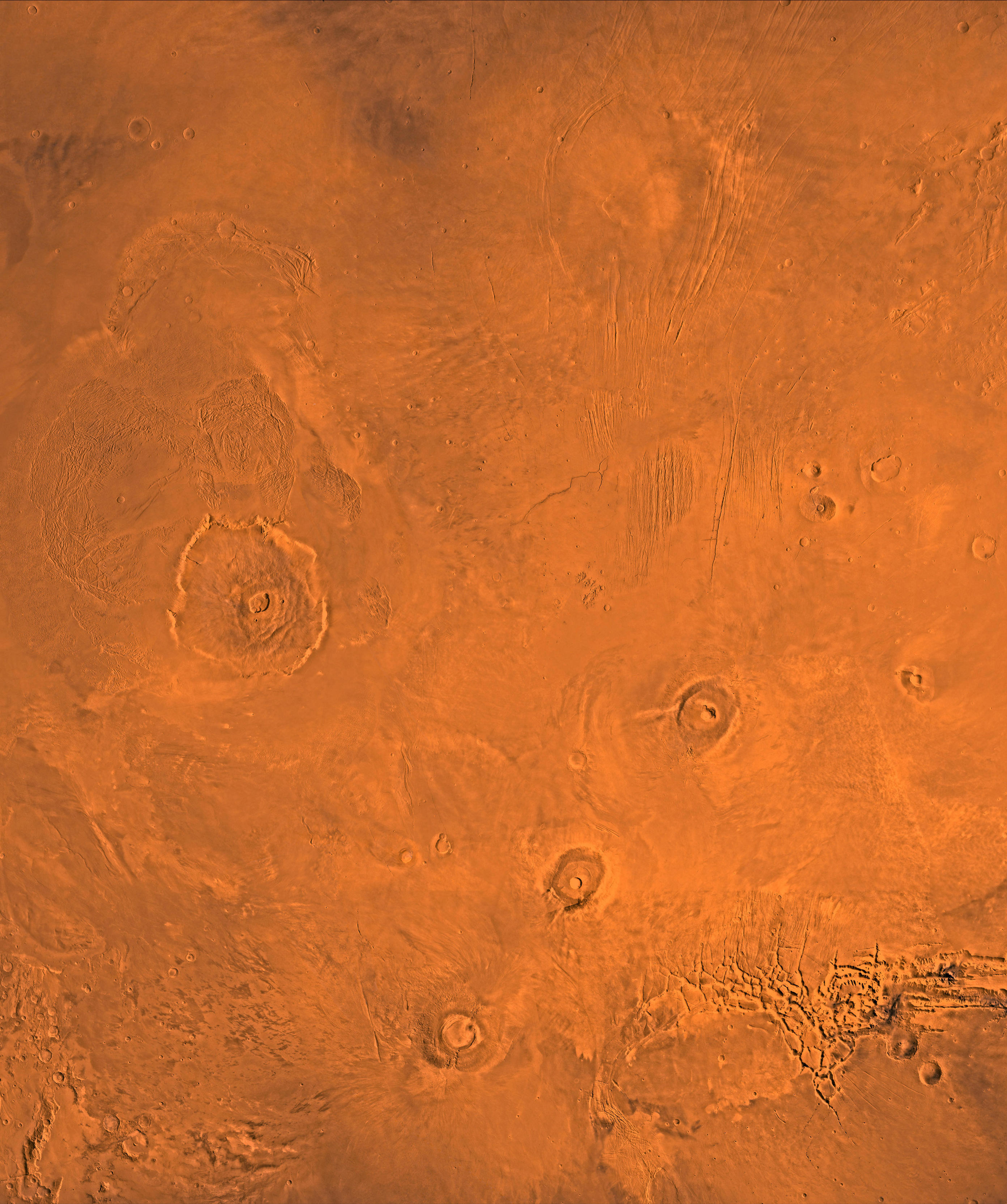 This is a close-up image of the Tharsis volcano.