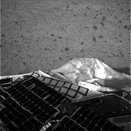 This is one of the first images beamed back to Earth shortly after the Mars Exploration Rover Spirit landed on the red planet