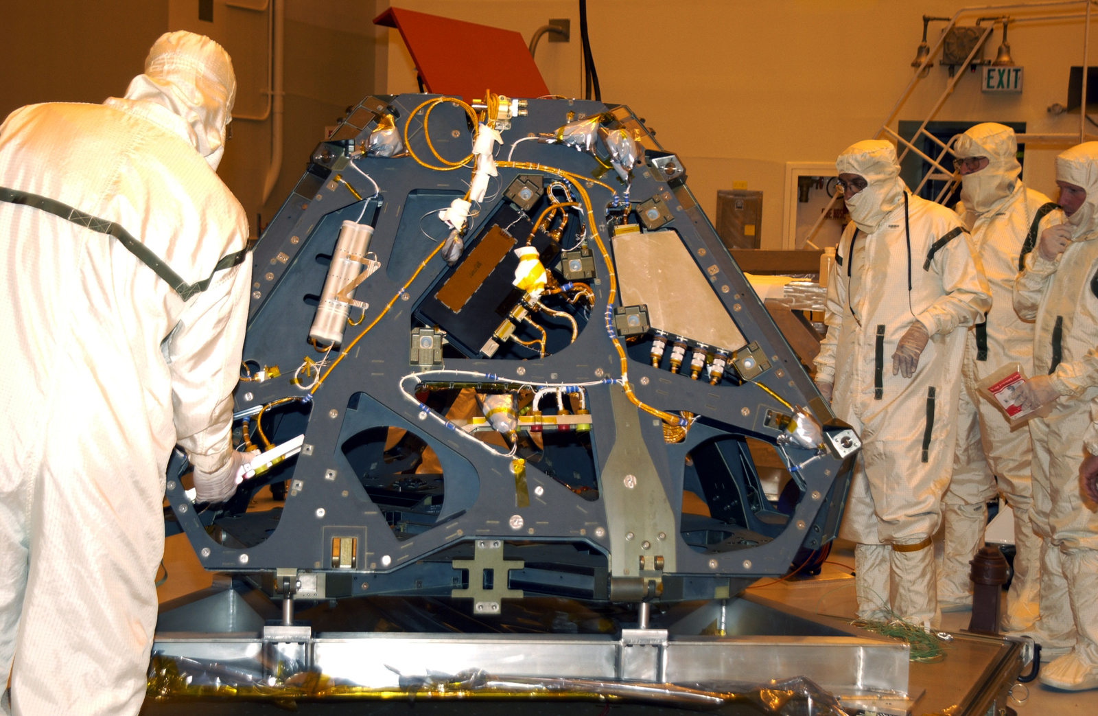 The Mars Exploration Rover-2 is moved to a workstand in the Payload Hazardous Servicing Facility.