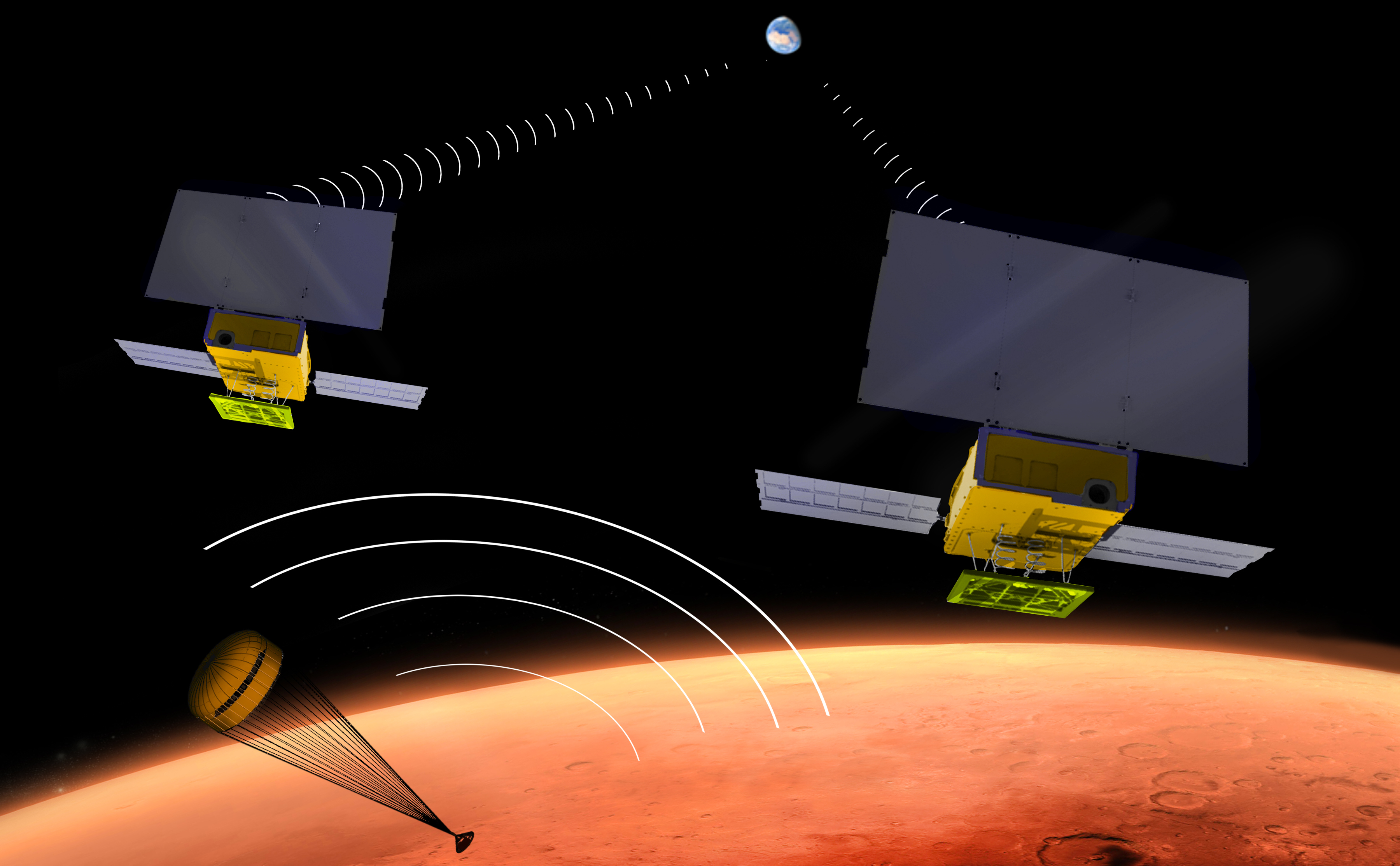 Artist's concept showing two small satellites flying over Mars as the InSight lander parachutes through the surface of Mars.