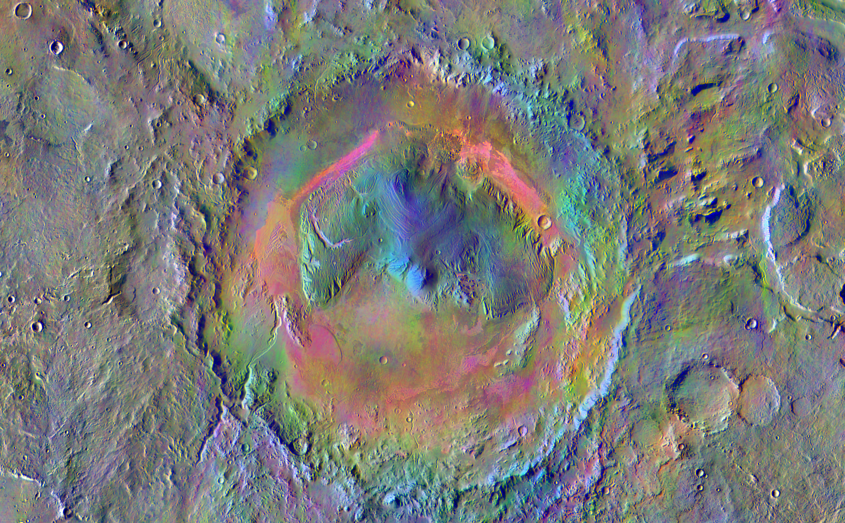 Gale Crater, home to NASA's Curiosity Mars rover, shows a new face in this image made using data from the THEMIS camera on NASA's Mars Odyssey orbiter.