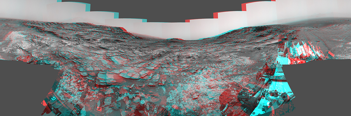 "This stereo view from the Curiosity Mars rover's Navcam shows a 360-degree panorama around the site where the rover spent its 1,000th Martian day, or sol, on Mars. The image appears three-dimensional when viewed through red-blue glasses with the red lens on the left. The site is near ""Marias Pass."""