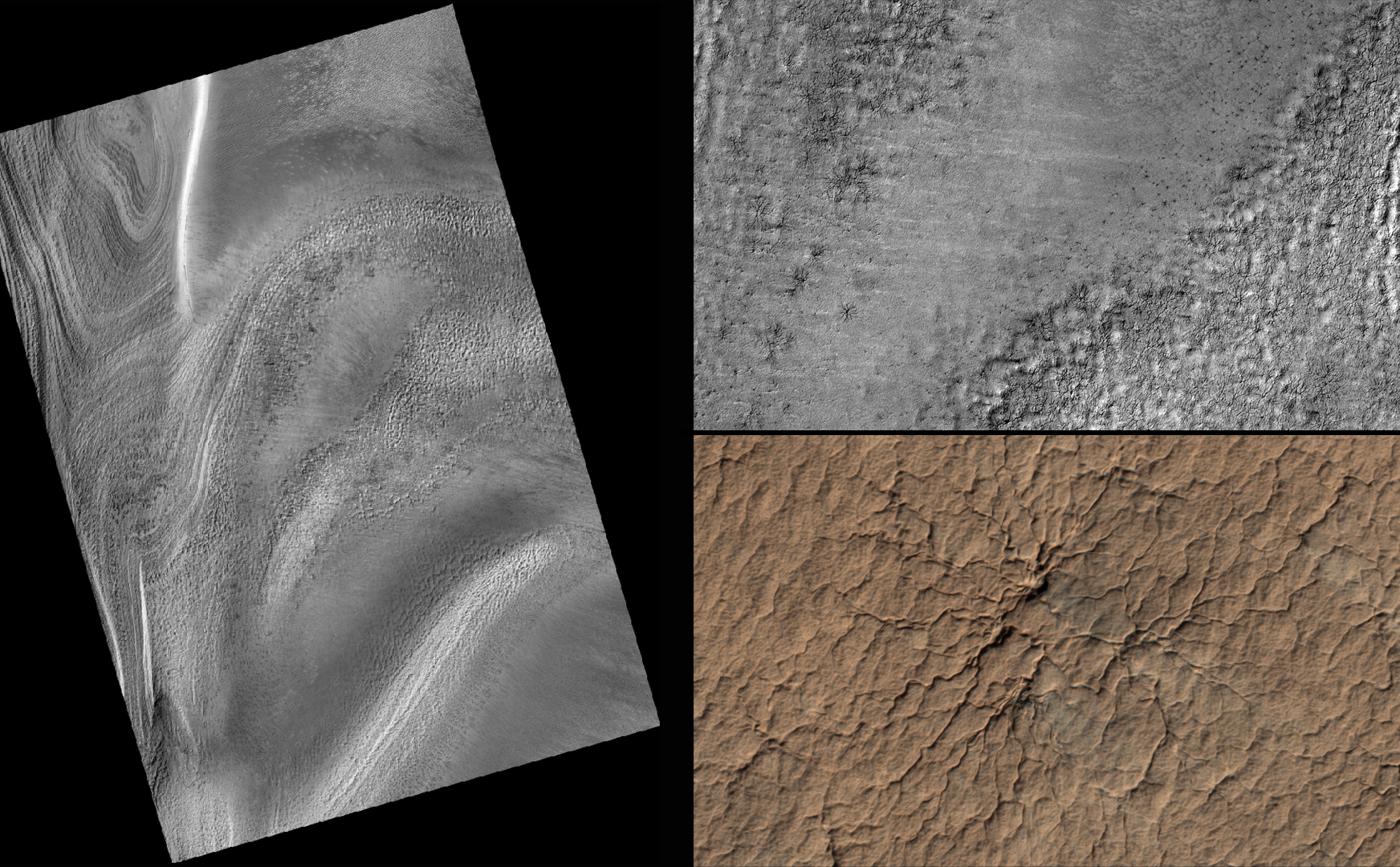 "This series of images from NASA's Mars Reconnaissance Orbiter successively zooms into ""spider"" features -- or channels carved in the surface in radial patterns -- in the south polar region of Mars."