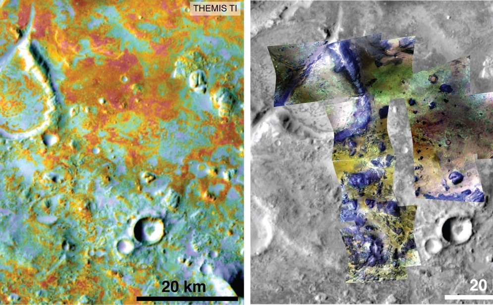 Researchers estimating the amount of carbon held in the ground at the largest known carbonate-containing deposit on Mars utilized data from five instruments on three different NASA Mars orbiters, including physical properties from THEMIS (left) and mineral information from CRISM (right).