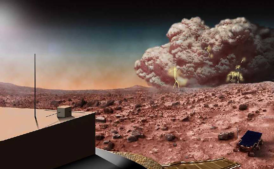 This artists concept illustrates a Martian dust storm, which might also crackle with electricity.