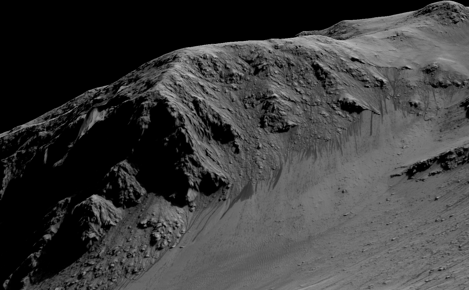 "Recurring ""Lineae"" on Slopes at Horowitz Crater"