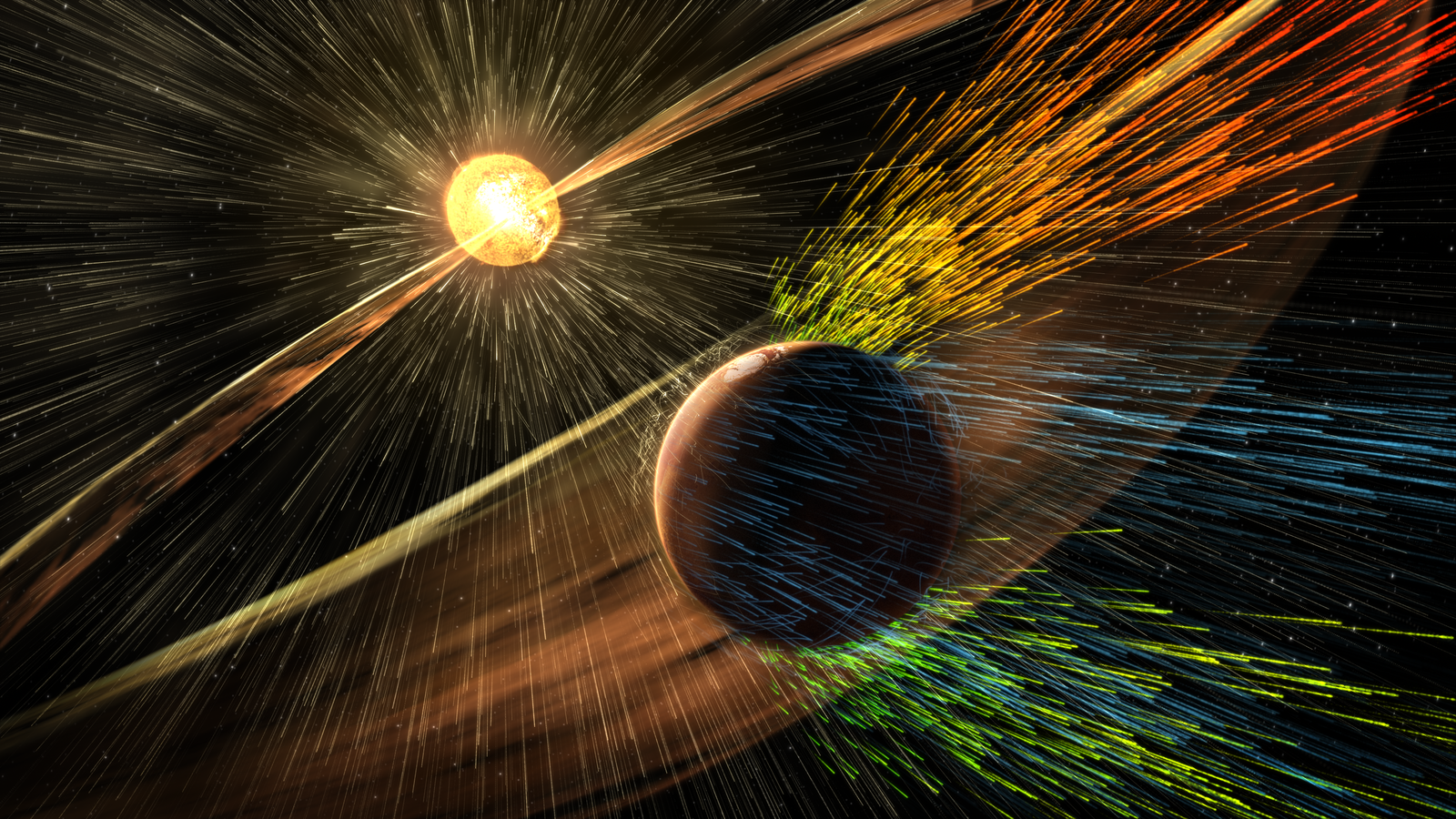 This illustration depicts charged particles from a solar storm stripping away charged particles of Mars' atmosphere, one of the processes of Martian atmosphere loss studied by NASA's MAVEN mission, beginning in 2014. Unlike Earth, Mars lacks a global magnetic field that could deflect charged particles emanating from the Sun.