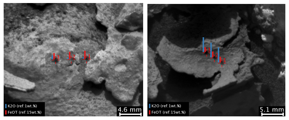 "These images and overlay bar charts from the Chemistry and Camera (ChemCam) instrument on NASA's Curiosity Mars rover indicate where some high-potassium material is localized within mineral veins at ""Garden City."""