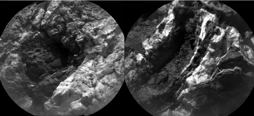 "These images from the Chemistry and Camera (ChemCam) instrument on NASA's Curiosity Mars rover indicate similarly dark material, but with very different chemistries, in mineral veins at ""Garden City."""