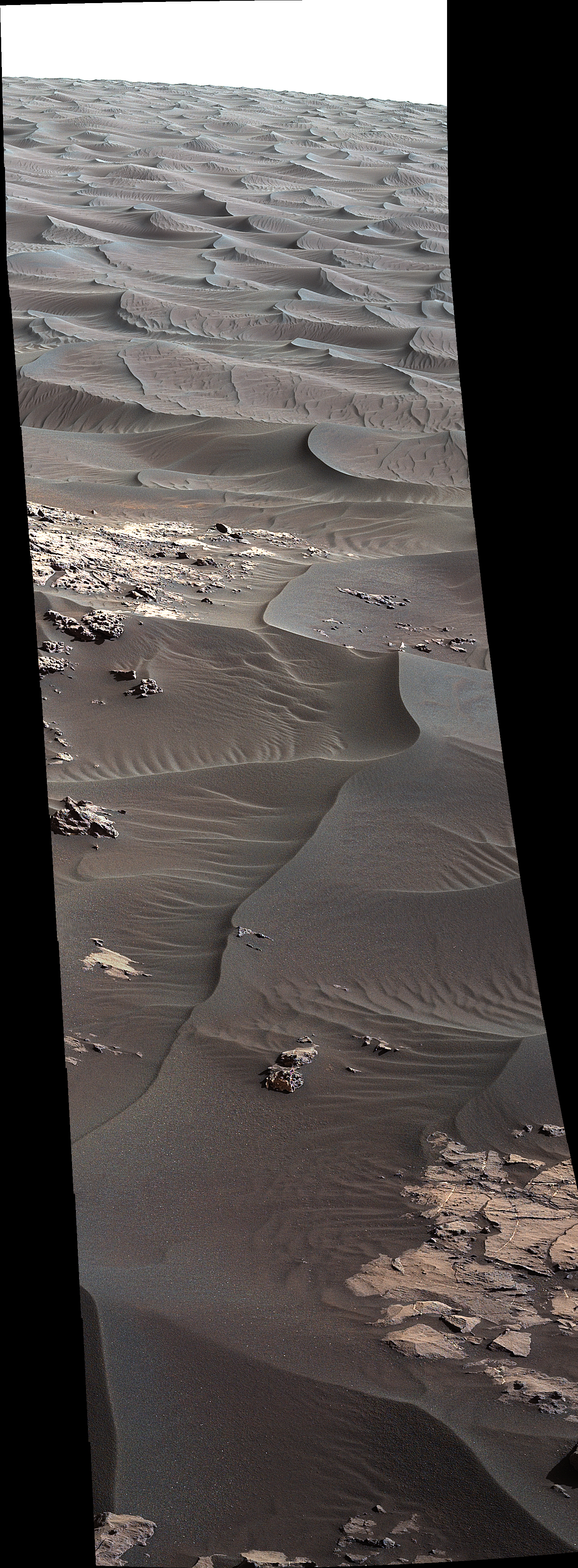 Ripples on Martian sand dunes show signs that wind moves them today, in NASA's first ever close-up view of active sand dunes, seen by Mars rover Curiosity.
