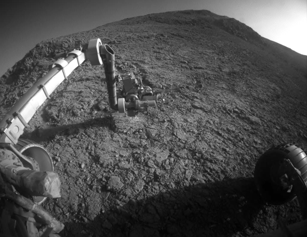 "The target beneath the tool turret at the end of the rover's robotic arm in this image from NASA's Mars Exploration Rover Opportunity is ""Private John Potts."" It lies high on the southern side of ""Marathon Valley,"" which slices through the western rim of Endeavour Crater."