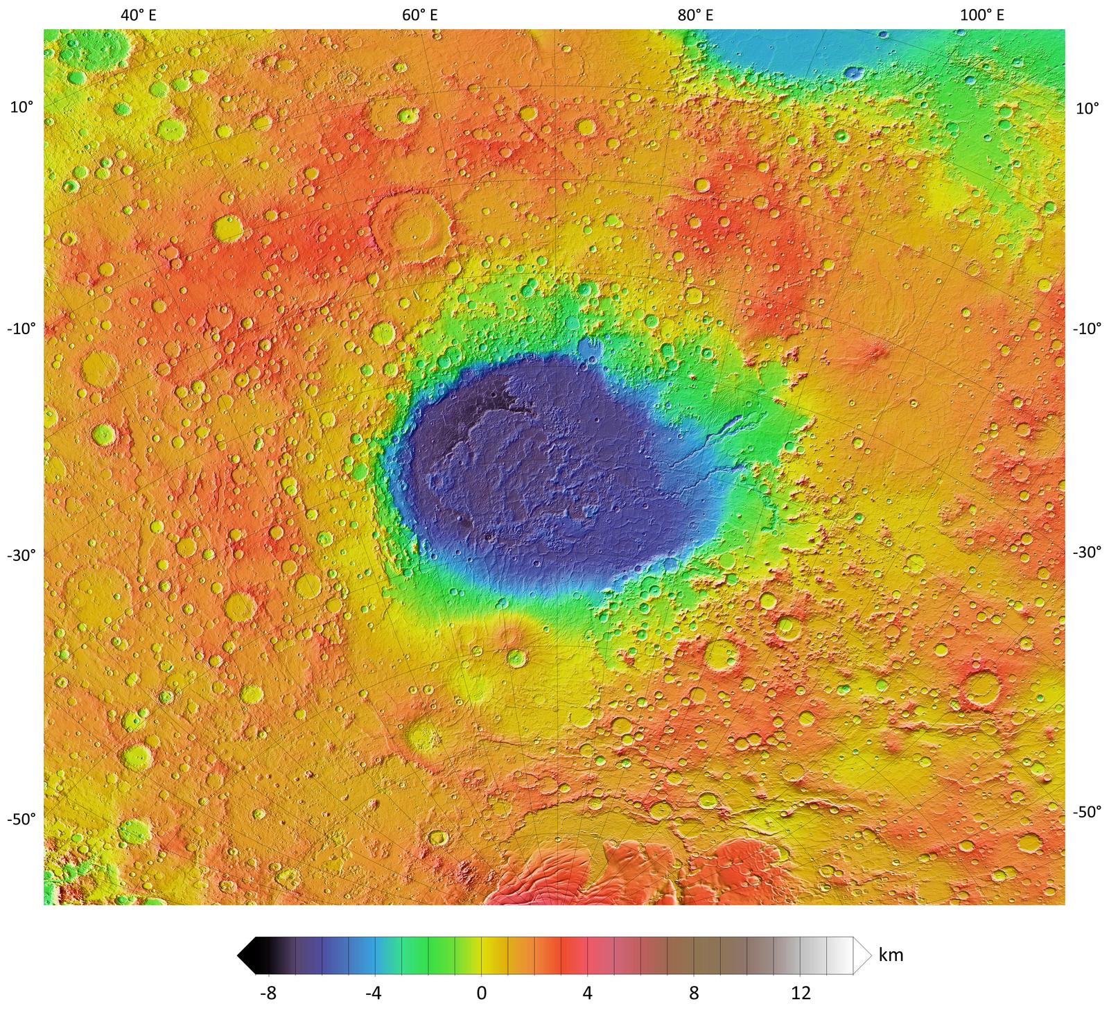 Topographic Map Of Hellas Planitia Nasa S Insight Mars Lander