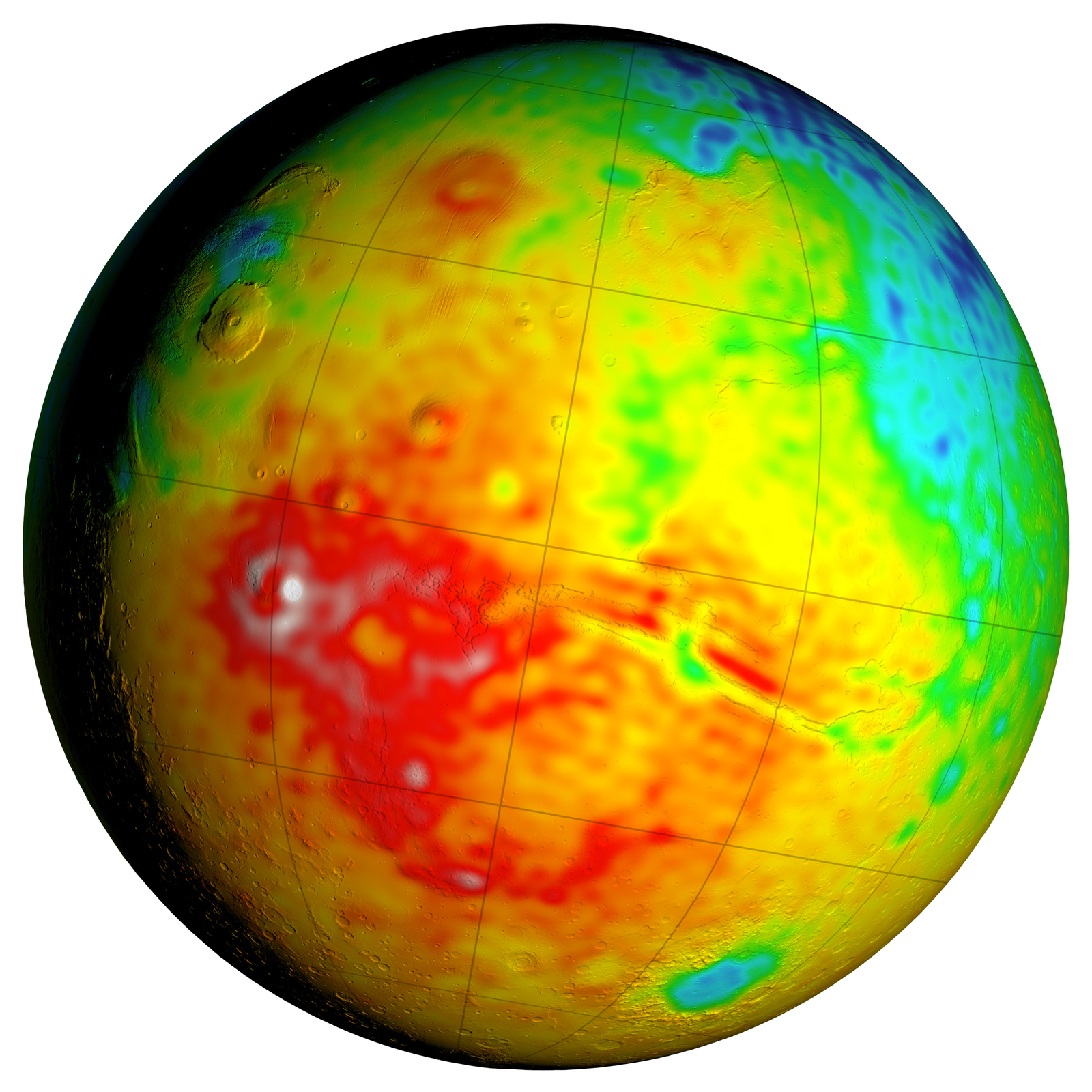 This Mars map shows variations in thickness of the planet's crust, the relatively thin surface layer overlying the mantle of the planet. It shows unprecedented detail derived from new mapping of variations in Mars' gravitational pull on orbiters.