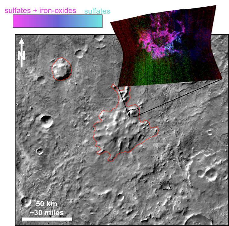 This graphic illustrates where Mars mineral-mapping from orbit has detected minerals that can indicate where a volcano erupted beneath an ice sheet.