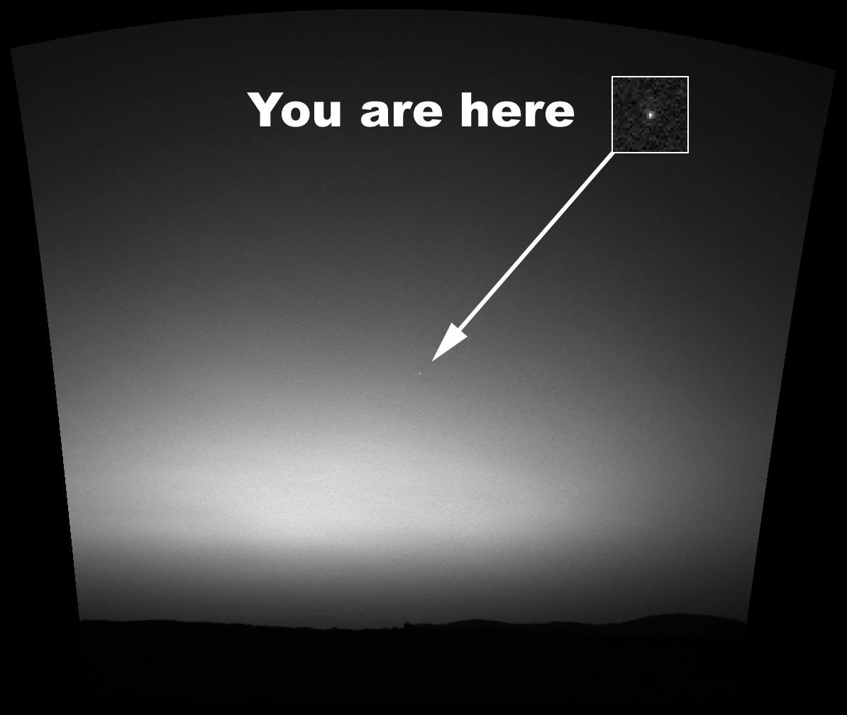 This is the first image ever taken of Earth from the surface of a planet beyond the Moon.