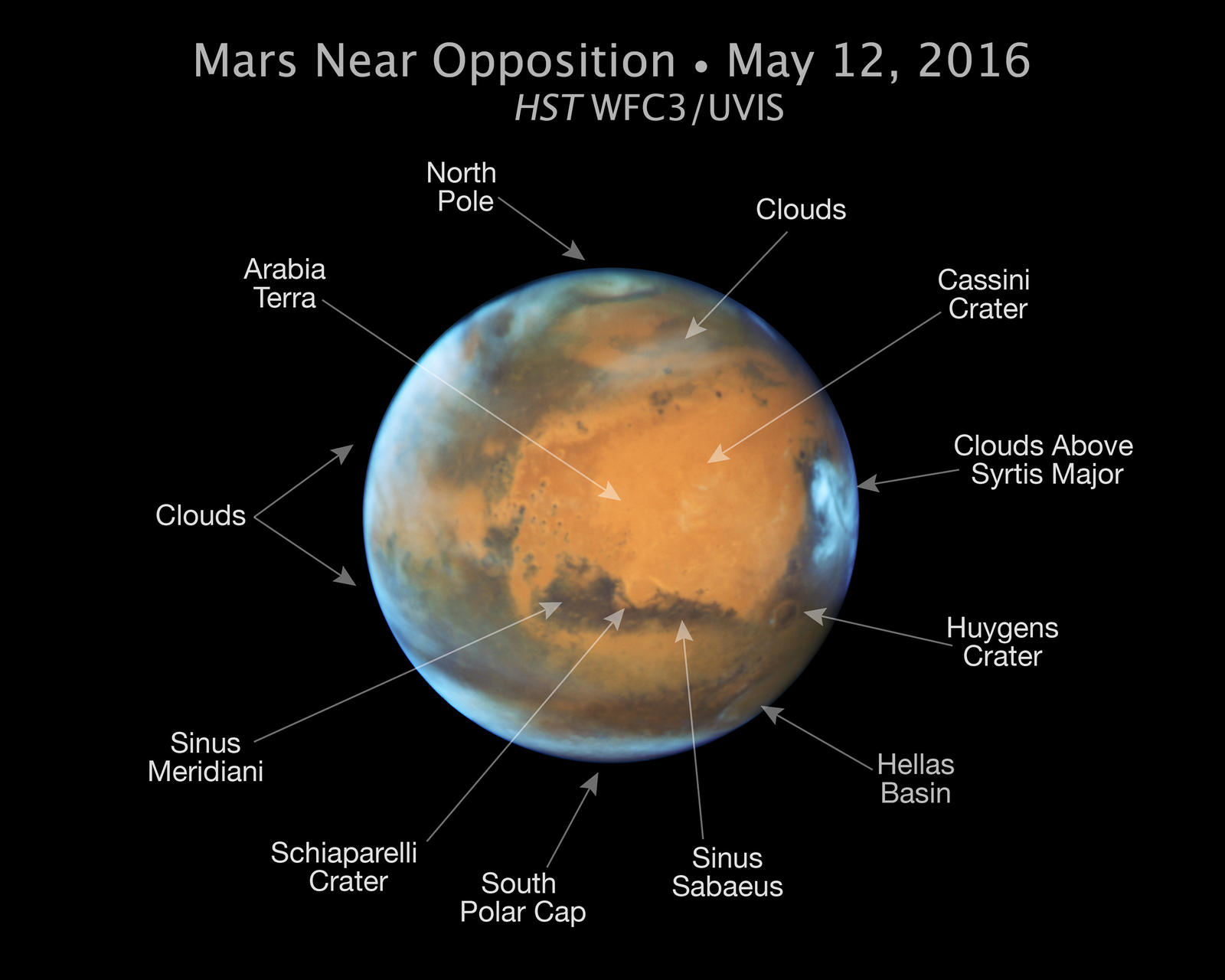 Mars Near 2016 Oppostion (Annotated)