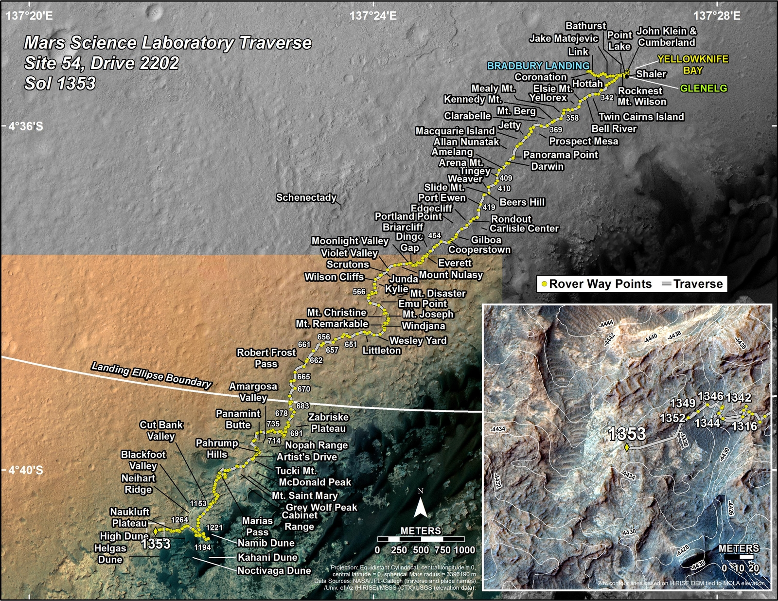 This map shows the route driven by NASA's Mars rover Curiosity through the 1353 Martian day, or sol, of the rover's mission on Mars (May, 27, 2016).