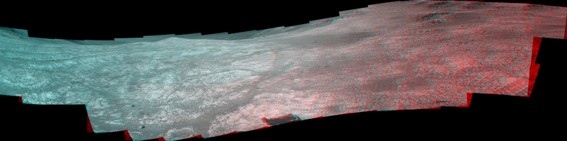 """Marathon Valley"" on Mars opens northeastward in this stereo version of a scene from the Pancam of NASA's Mars Exploration Rover Opportunity. The scene, recorded in April and May 2016, appears three-dimensional when seen through blue-red glasses with the red lens on the left."