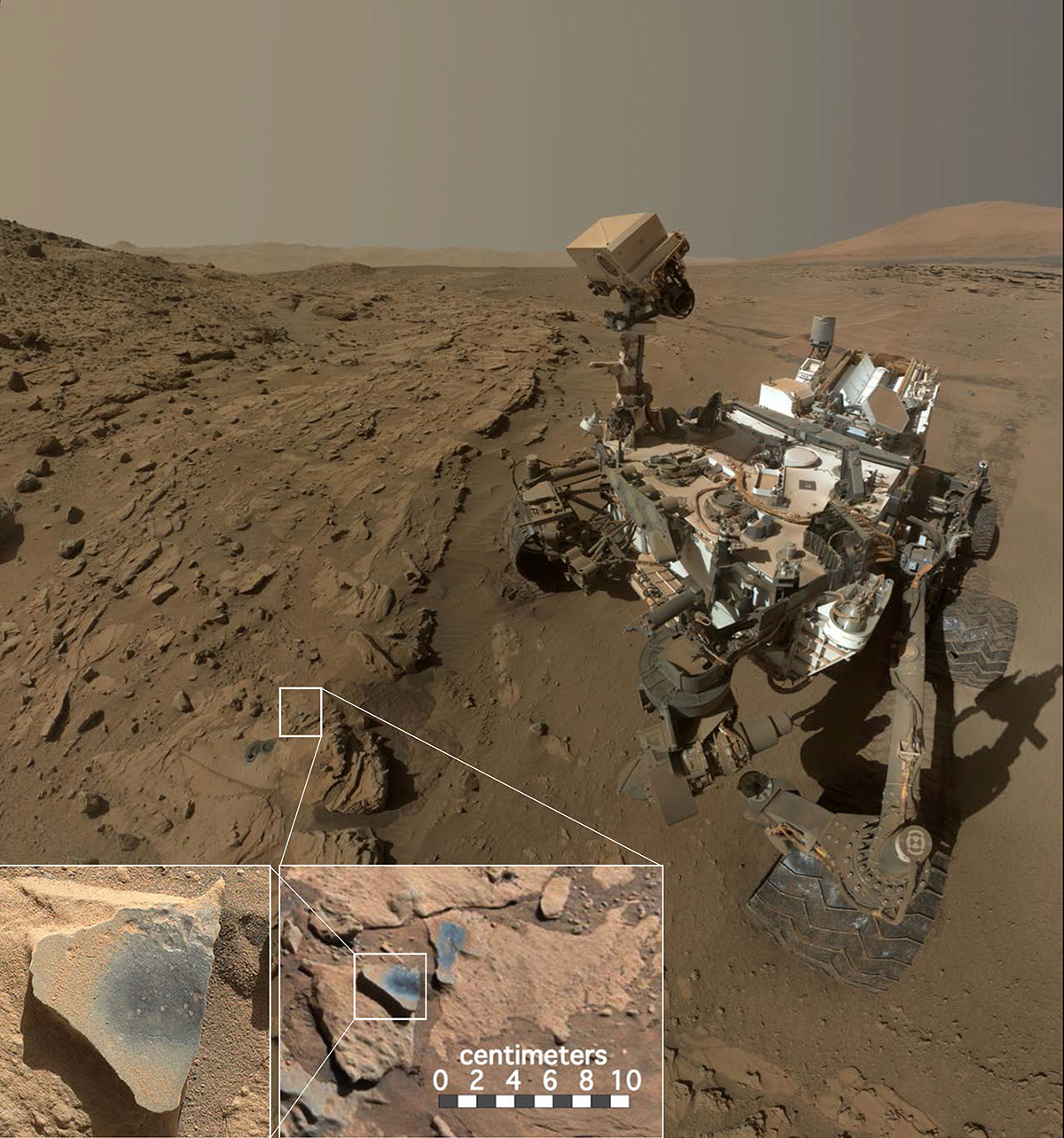 "This scene shows NASA's Curiosity Mars rover at a location called ""Windjana,"" where the rover found rocks containing manganese-oxide minerals, which require abundant water and strongly oxidizing conditions to form."