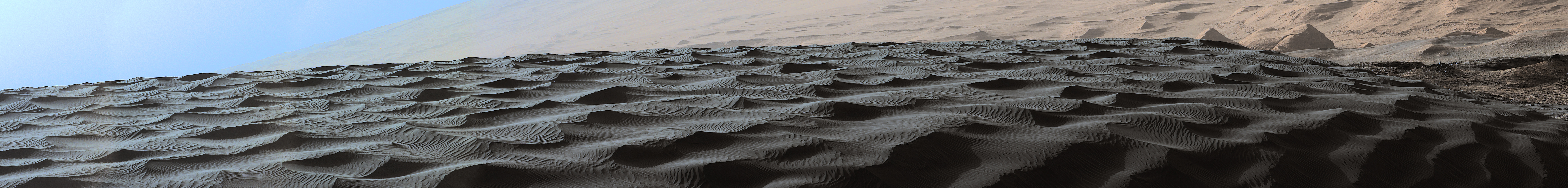 Two sizes of ripples are evident in this Dec. 13, 2015, view of a top of a Martian sand dune, from NASA's Curiosity Mars rover. Sand dunes and the smaller type of ripples also exist on Earth.  The larger ripples are a type not seen on Earth nor previously recognized as a distinct type on Mars.