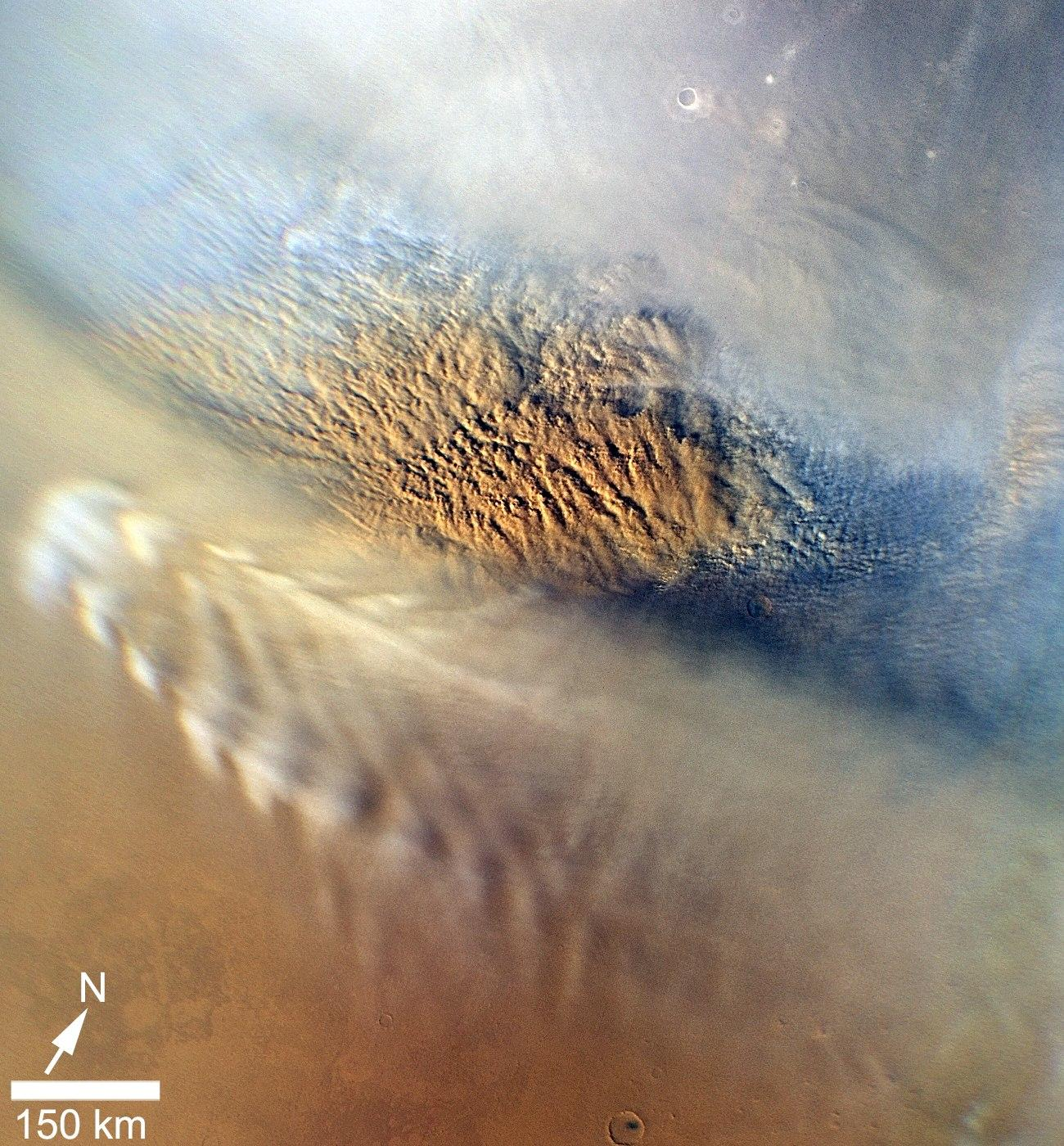 This close-up image of a dust storm on Mars was acquired by the Mars Color Imager instrument on NASA's Mars Reconnaissance Orbiter on Nov. 7, 2007