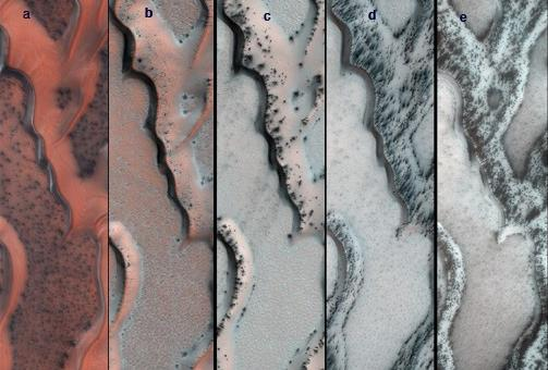 The High Resolution Imaging Science Experiment (HiRISE) camera on NASA's Mars Reconnaissance Orbiter snapped this series of false-color pictures of sand dunes in the north polar region of Mars.