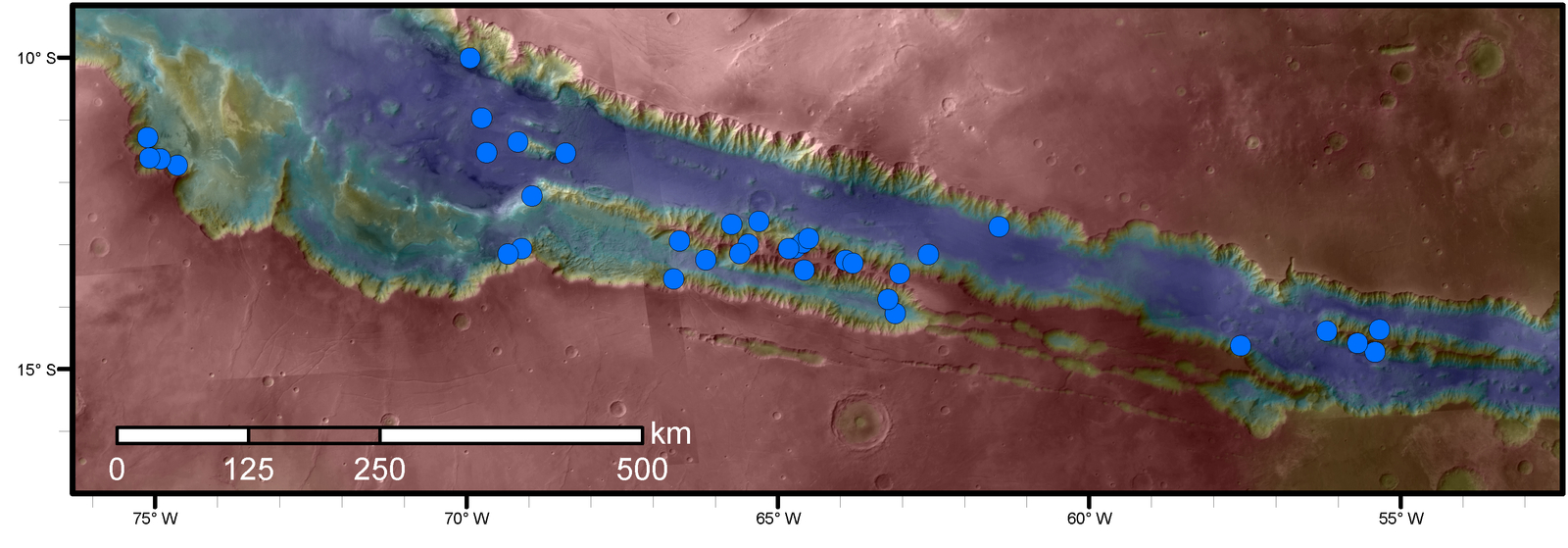 Blue dots on this map indicate sites of recurring slope lineae (RSL) in part of the Valles Marineris canyon network on Mars. RSL are seasonal dark streaks that may be indicators of liquid water. The area mapped here has the highest density of known RSL on Mars.