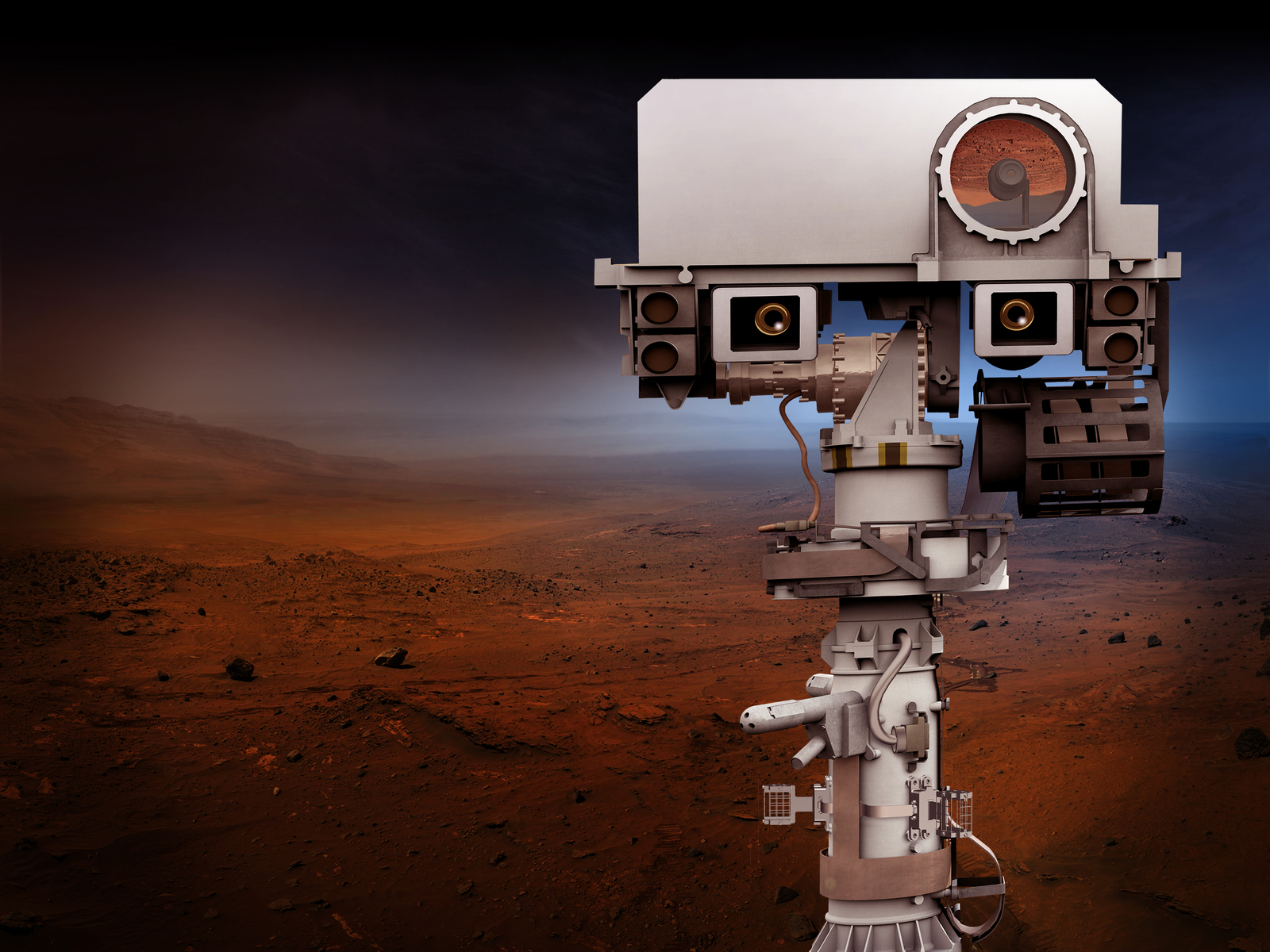NASA's Mars 2020 Project will re-use the basic engineering of NASA's Mars Science Laboratory/Curiosity to send a different rover to Mars, with new objectives and instruments. This view depicts the top of the 2020 rover's mast.