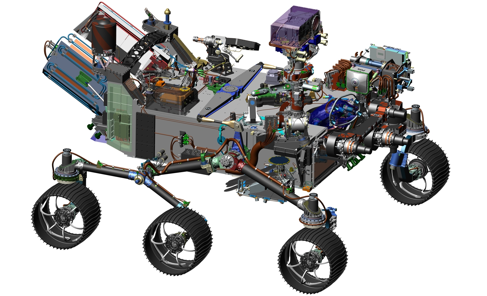This 2016 image comes from computer-assisted-design work on NASA's 2020 Mars rover. The design leverages many successful features of NASA's Curiosity rover, which landed on Mars in 2012, but it adds new science instruments and a sampling system to carry out the new goals for the 2020 mission