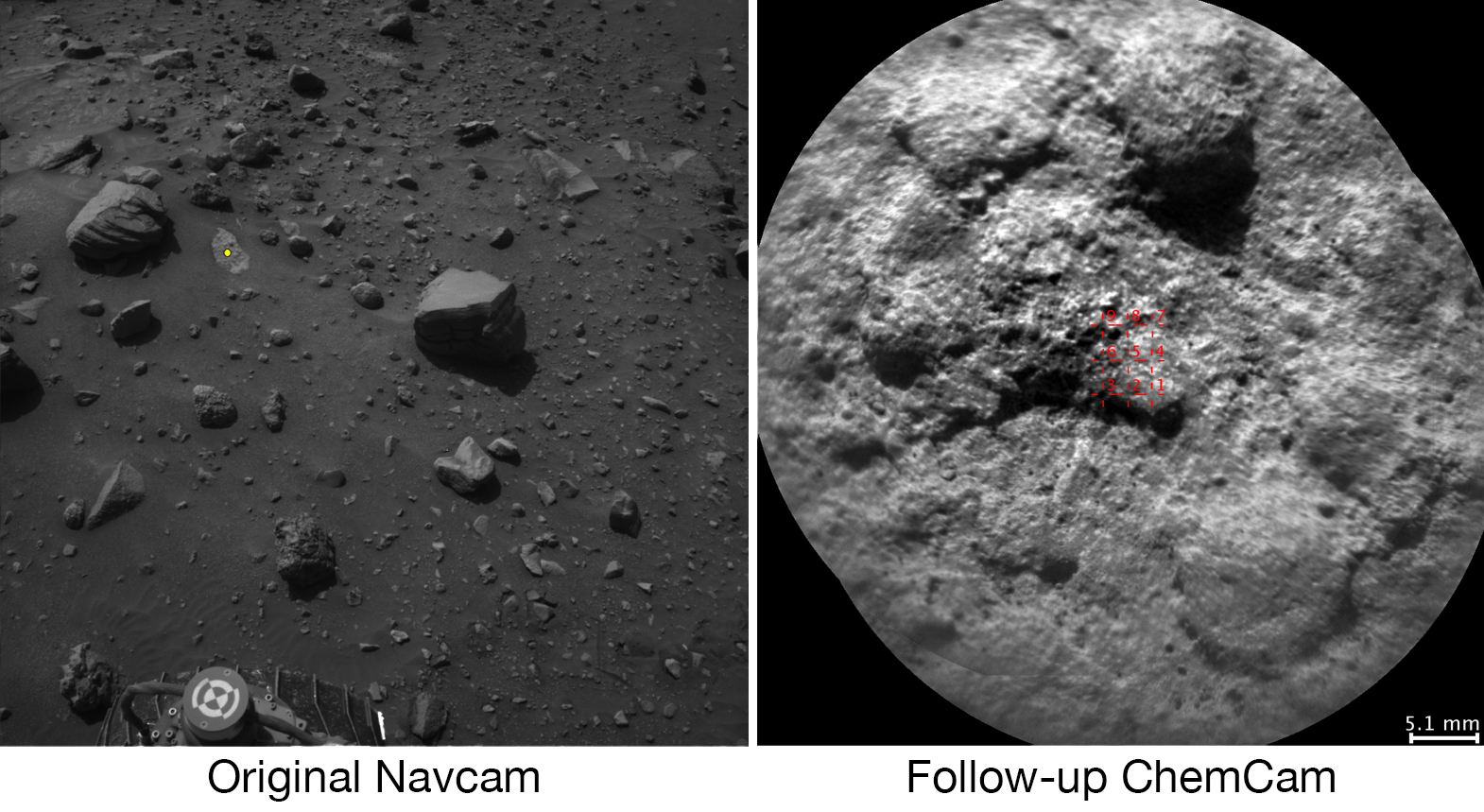 NASA's Curiosity Mars rover autonomously selects some targets for the laser and telescopic camera of its ChemCam instrument. For example, on-board software analyzed the Navcam image at left, chose the target indicated with a yellow dot, and pointed ChemCam for laser shots and the image at right.