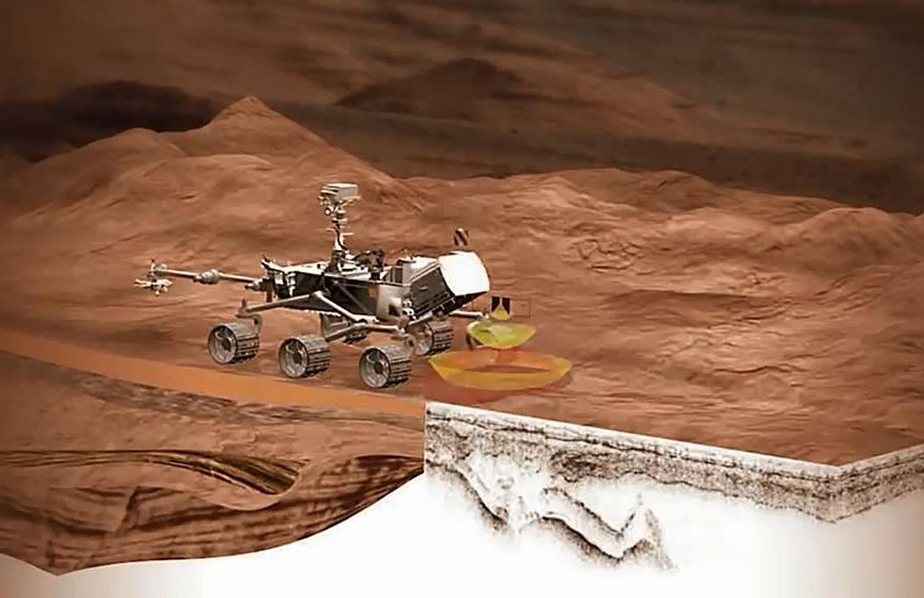 This artist concept shows the location of the RIMFAX instrument on the next rover scheduled to launch for Mars.