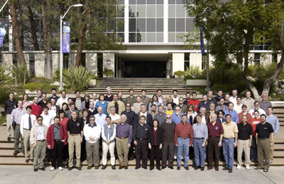 Athena Science team members and other Mars Exploration Rover team members pose for a photo at JPL.