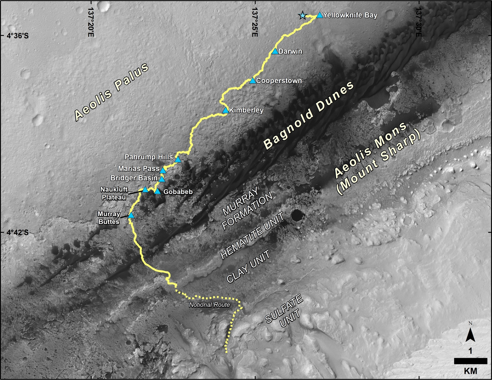 "This map shows the route driven by NASA's Curiosity Mars rover from the location where it landed in August 2012 to its location in September 2016 at ""Murray Buttes,"" and the path planned for reaching destinations at ""Hematite Unit"" and ""Clay Unit"" on lower Mount Sharp."