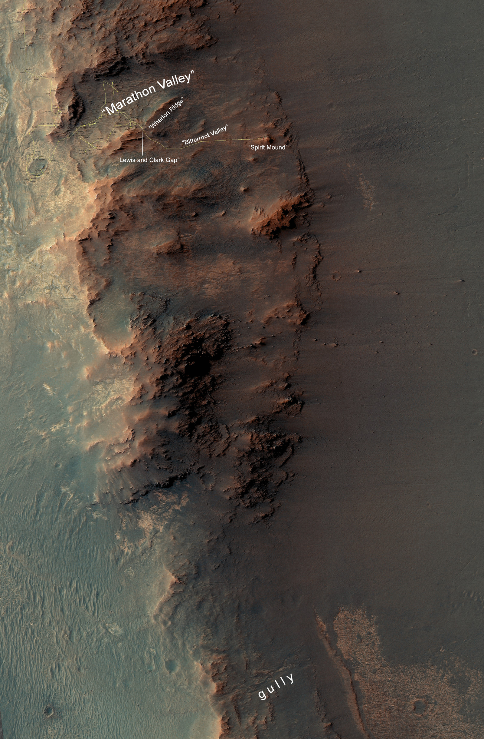 "This map show a portion of Endeavour Crater's western rim that includes  the ""Marathon Valley"" area investigated intensively by NASA's Mars Exploration Rover Opportunity in 2015 and 2016, and a fluid-carved gully that is a destination to the south for the mission."