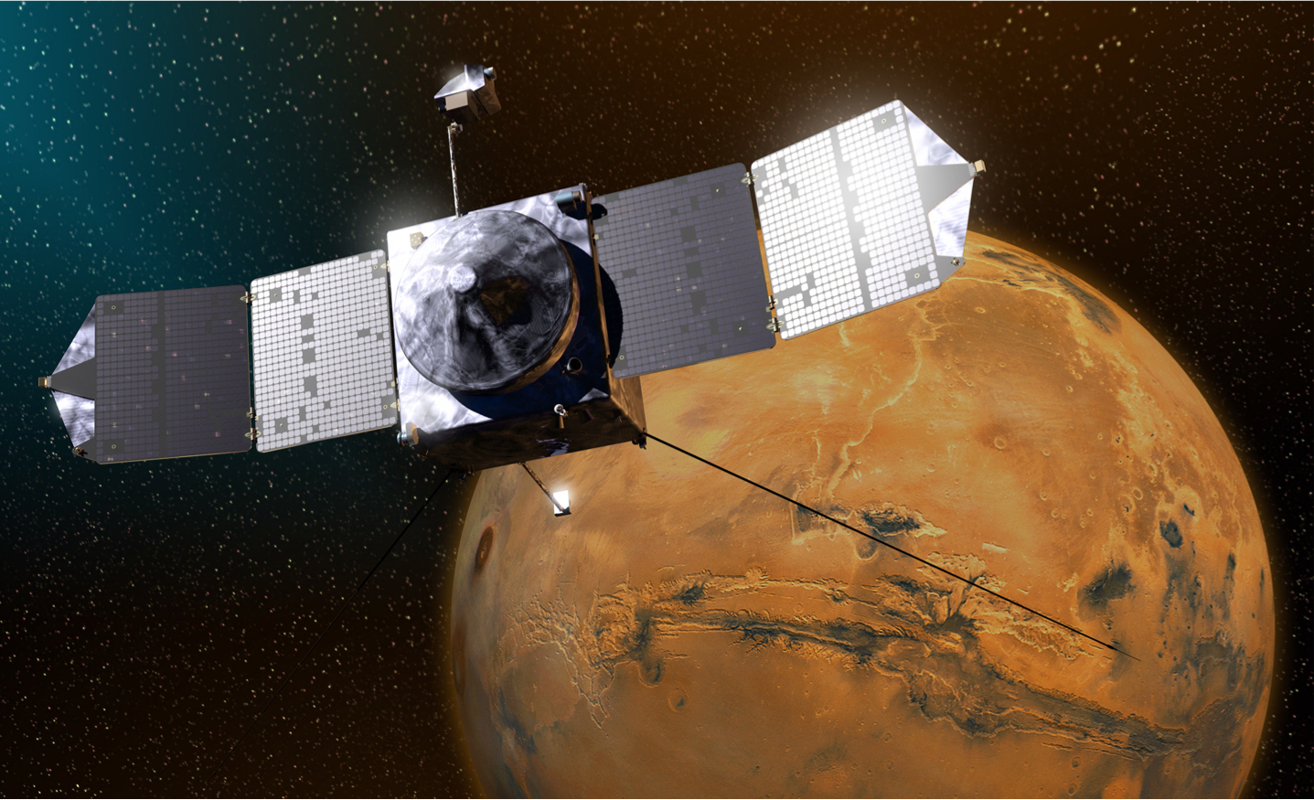 Artist's Concept of NASA's MAVEN Spacecraft Orbiting Mars