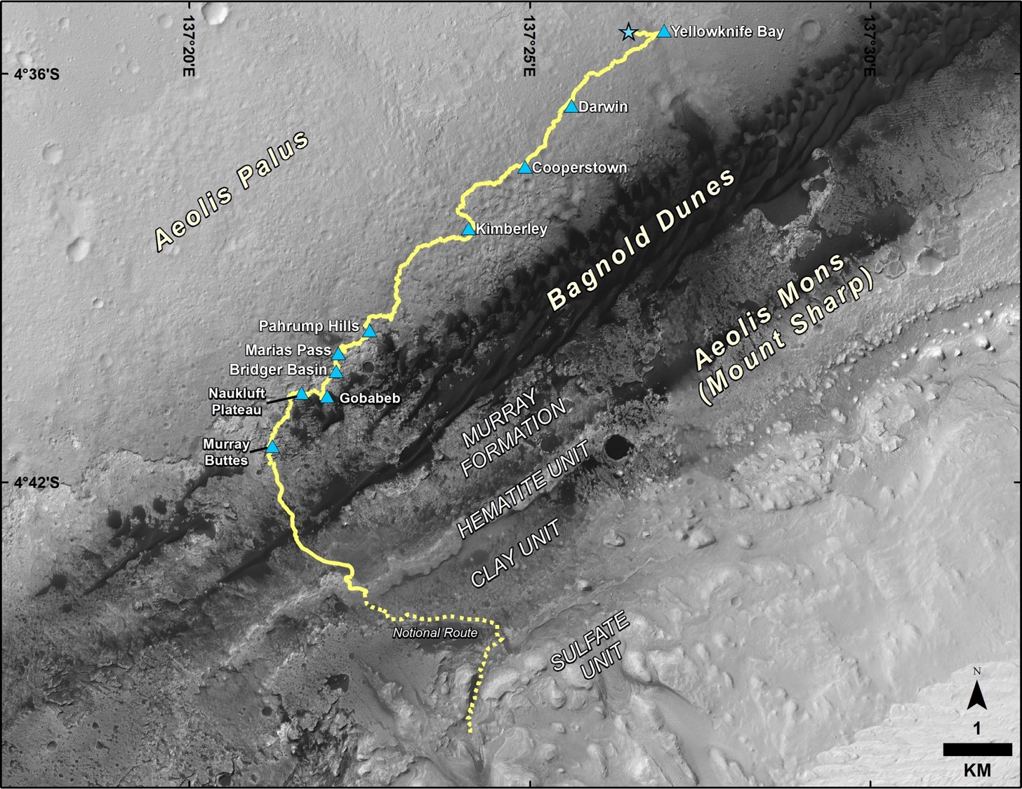 This map shows the route driven by NASA's Curiosity Mars rover from the location where it landed in August 2012 to its location in December 2016, which is in the upper half of a geological unit called the Murray formation, on lower Mount Sharp.