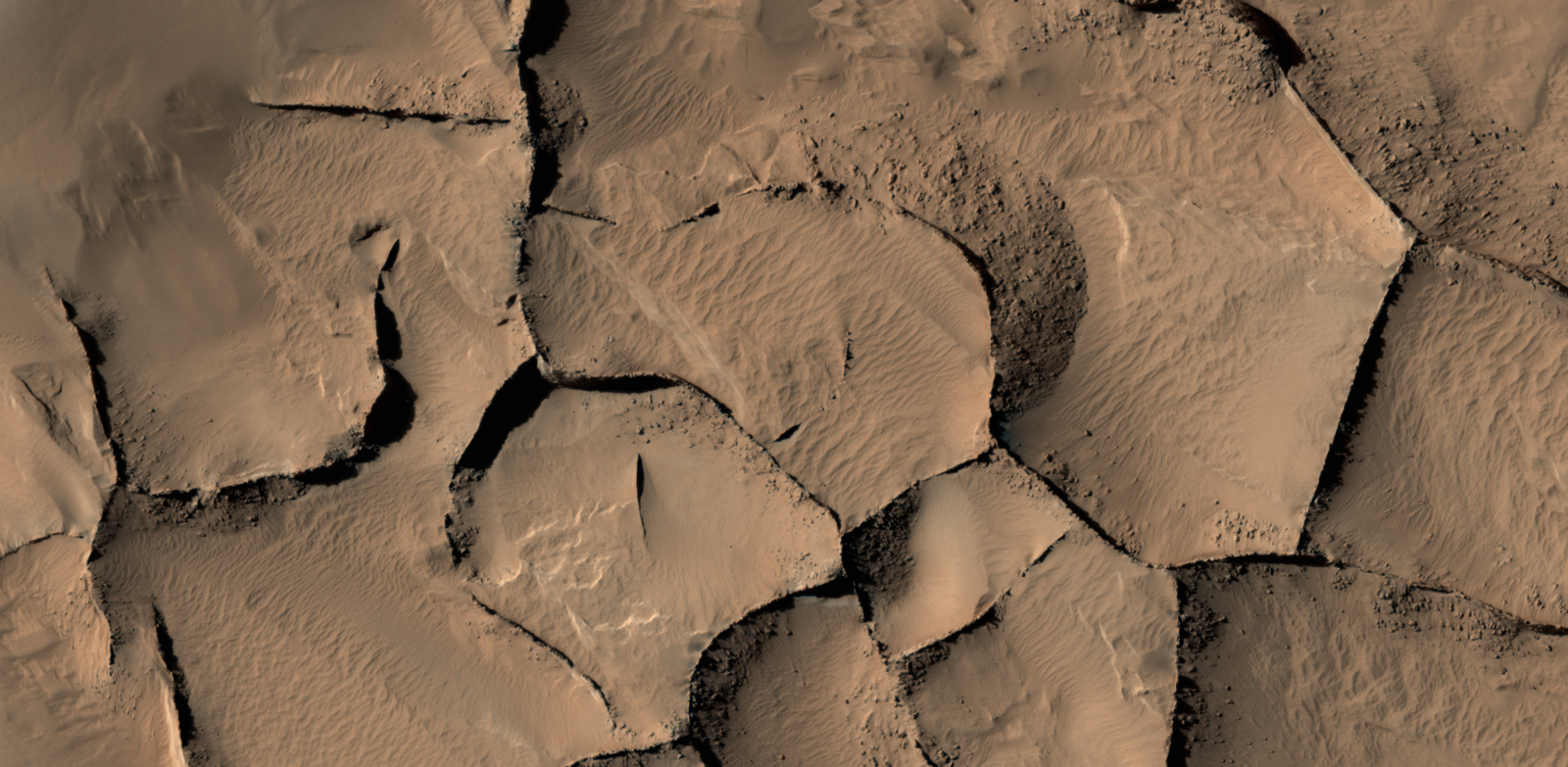 This view from the HiRISE camera on NASA's Mars Reconnaissance Orbiter shows part of an area on Mars where narrow rock ridges, some as tall as a 16-story building, intersect at angles forming corners of polygons.