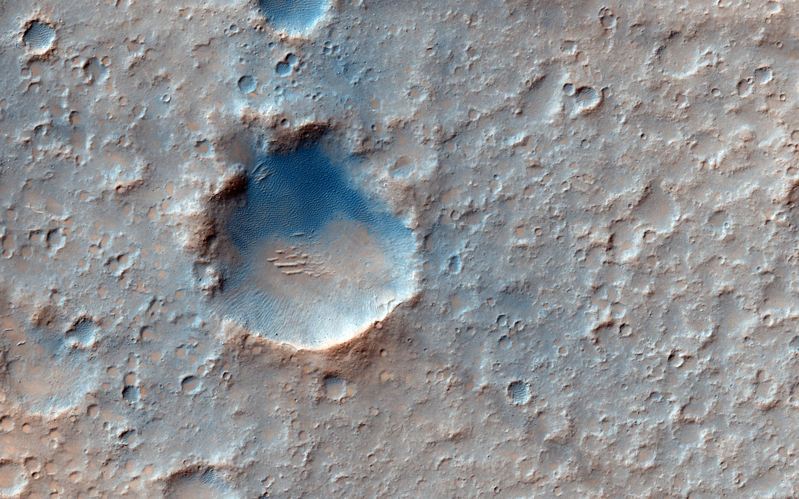 Gusev Crater imaged from orbit by the Mars Reconnaissance Orbiter HiRISE camera.