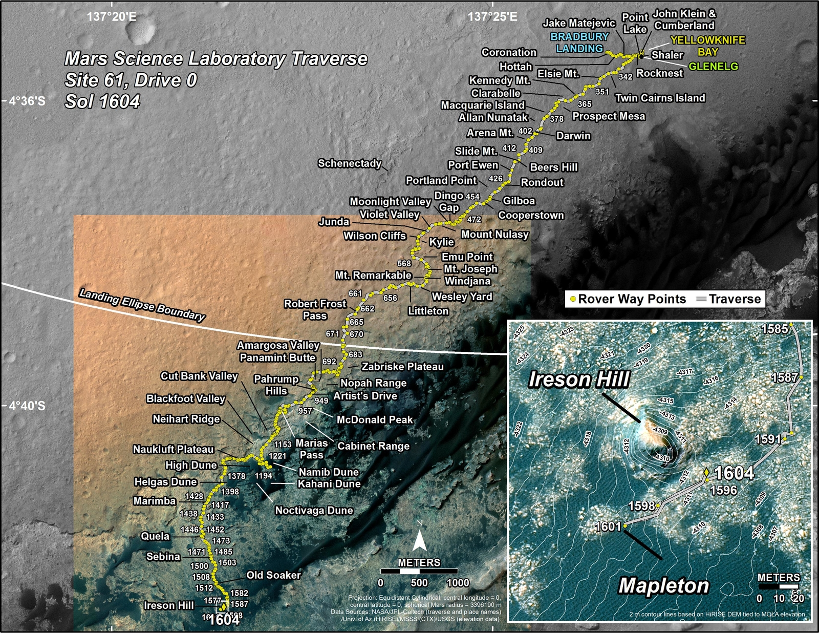 This map shows the route driven by NASA's Mars rover Curiosity through the 1604 Martian day, or sol, of the rover's mission on Mars (February 09, 2017).