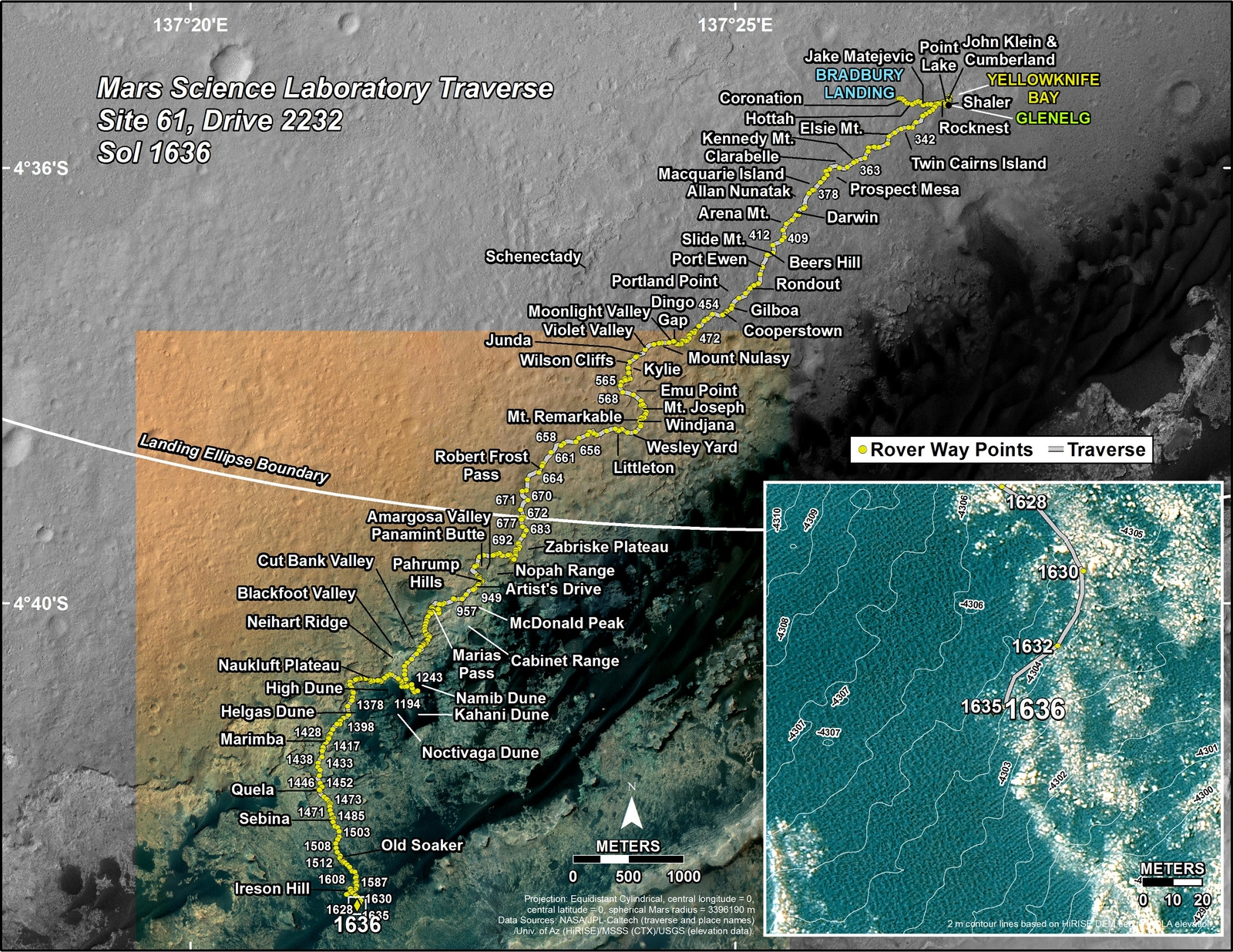 This map shows the route driven by NASA's Mars rover Curiosity through the 1636 Martian day, or sol, of the rover's mission on Mars (March 14, 2017).