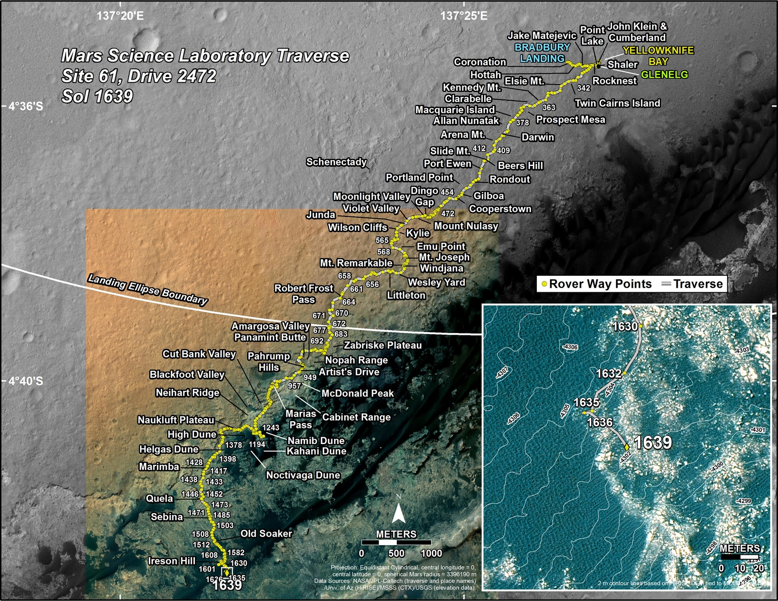 This map shows the route driven by NASA's Mars rover Curiosity through the 1639 Martian day, or sol, of the rover's mission on Mars (March 17, 2017).