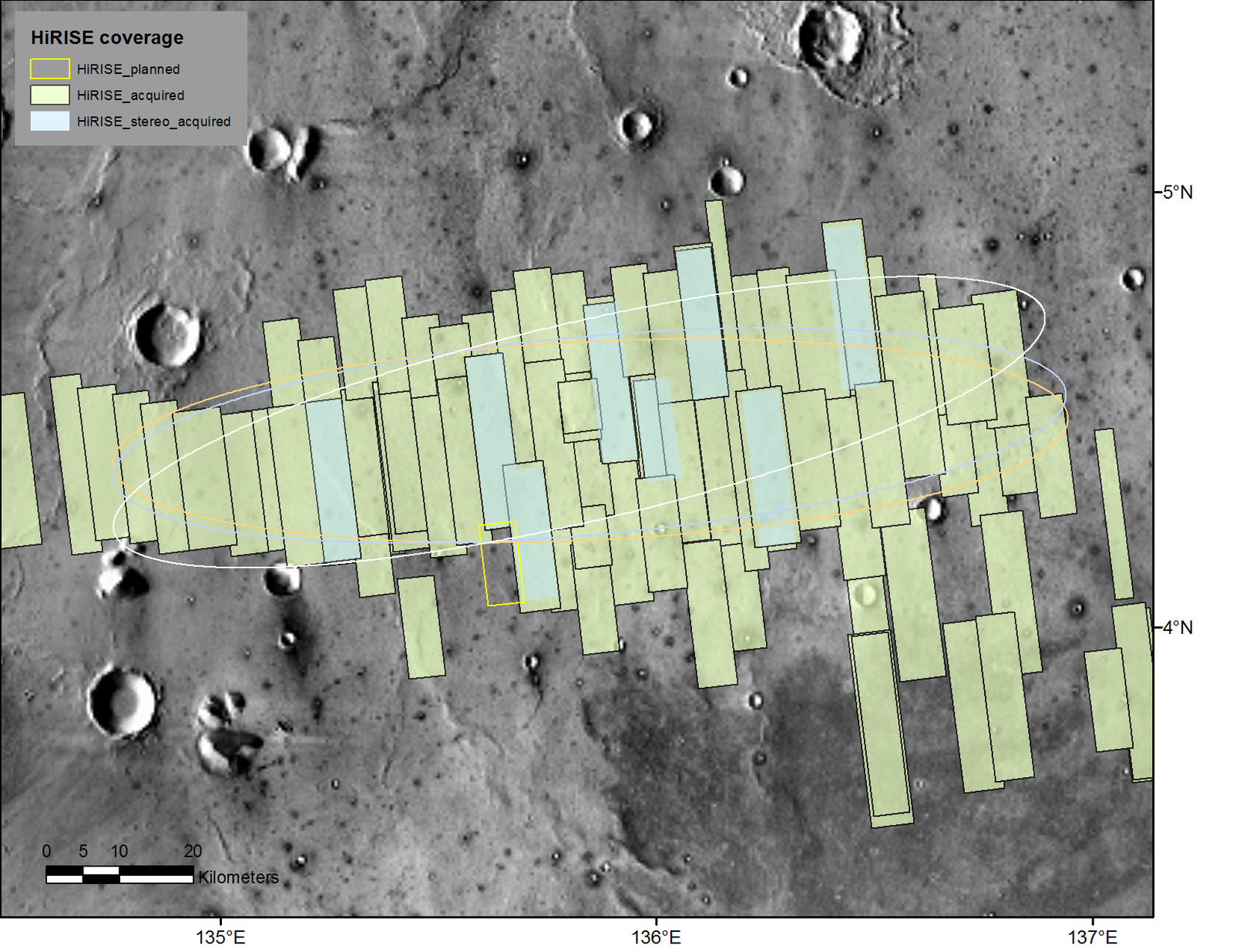 This map shows the footprints of images taken by the HiRISE camera on NASA's Mars Reconnaissance Orbiter as part of advance analysis of the area where NASA's InSight mission will land in 2018. The final planned image of the set will fill in the yellow-outlined rectangle on March 30, 2017.