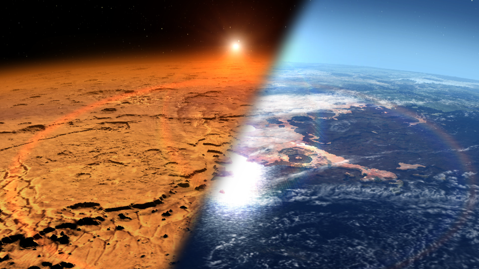 This artist's concept depicts the early Martian environment (right) - believed to contain liquid water and a thicker atmosphere - versus the cold, dry environment seen at Mars today (left).