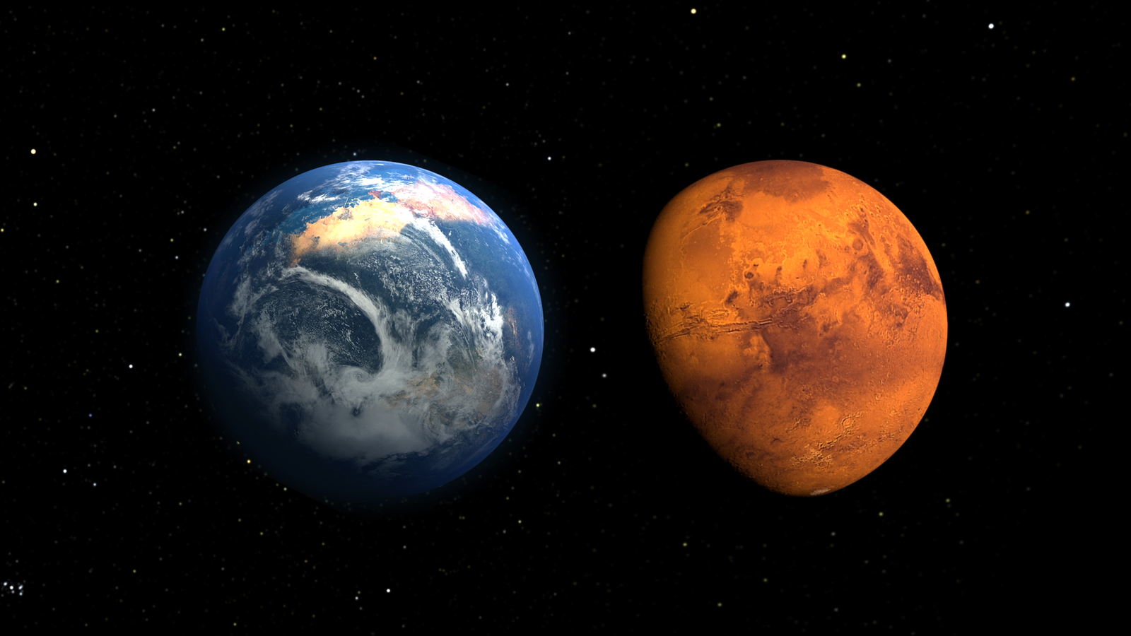 This artist's concept depicts the early Martian environment (left) - believed to contain liquid water and a thicker atmosphere - versus the cold, dry environment seen at Mars today (right).