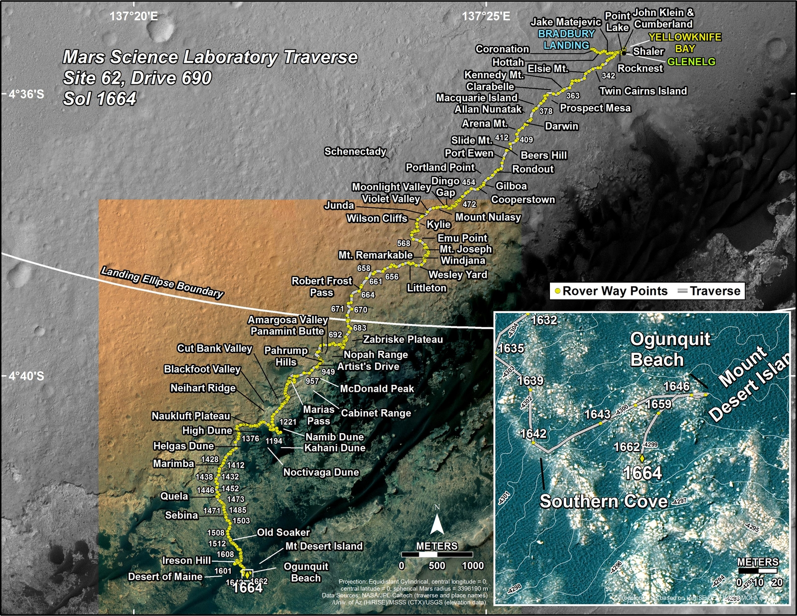 This map shows the route driven by NASA's Mars rover Curiosity through the 1664 Martian day, or sol, of the rover's mission on Mars (April 12, 2017).