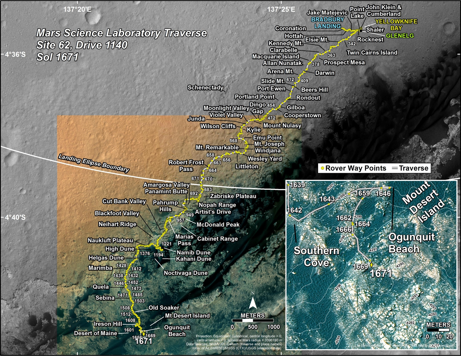 This map shows the route driven by NASA's Mars rover Curiosity through the 1671 Martian day, or sol, of the rover's mission on Mars (April 19, 2017).