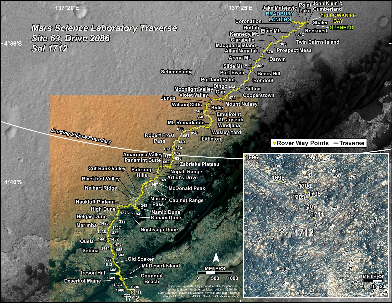 This map shows the route driven by NASA's Mars rover Curiosity through the 1712 Martian day, or sol, of the rover's mission on Mars (May 31, 2017).