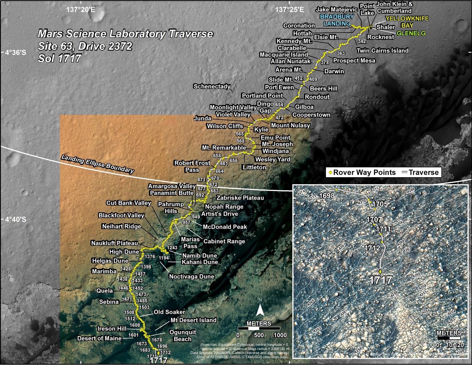 This map shows the route driven by NASA's Mars rover Curiosity through the 1717 Martian day, or sol, of the rover's mission on Mars (June 05, 2017).