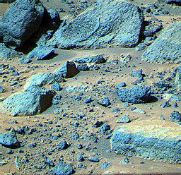 This false color composite image from NASA's Mars Pathfinder (MPF) of the Rock Garden shows the rocks 'Shark' and 'Half Dome' at upper left and middle, respectively.