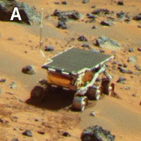 NASA's Mars Pathfinder Lander camera image of Sojourner Rover atop the 'Mermaid dune' on Sol 30. Note the dark material excavated by the rover wheels. Sol 1 began on July 4, 1997.